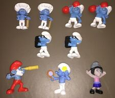 9 Piece Assortment Of Smurfs McDonald's Toys Smurf Toy Lot