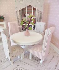 MINIATURE DOLL HOUSE 12TH SCALE FURNITURE WHITE WOODEN TABLE AND CHAIRS X 4