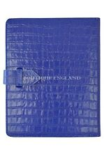 New iPAD 2 3 & 4 Blue Croc Print Luxury Real Genuine Leather Cover Case Stand