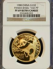 Rare 1988 CHINA Gold Panda SWISS Basel Coin AU PT ERROR NGC PF69 Certify