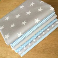 BLENDERS in BABY BLUE & GREY Fat Quarter Bundle ~ dots stars gingham fabrics