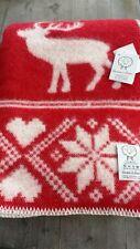 Lana & Lino Wool Xmas Blanket Red & Taupe - Lillunn of Norway Klippan