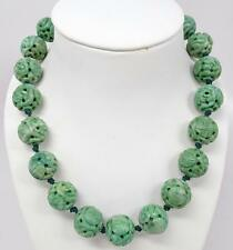 Fine Antique Chinese Pierced Carved Jade Jadeite Shou 18mm Bead Necklace 158g