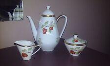 Vintage Hutschenreuther Pasco Cherry Fruit Coffee Tea Pot Set Sugar Creamer