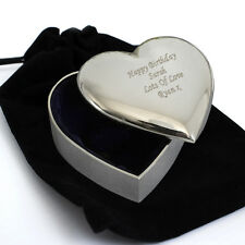 Personalised Heart Trinket Box with Plush Velvet Pouch -Engraved Free -Christmas