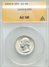 U.S. 1932-D WASHINGTON QUARTER/25 CENTS ALMOST UNCIRCULATED CERTIFIED ANACS-AU58