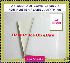 100 PCS A4 Size SELF ADHESIVE  STICKER SHEETS  SHIPPING Lable  Gumming Paper