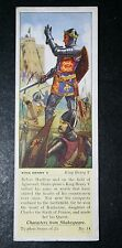 KING HENRY V  Shakespeare   King Henry V    Vintage Card  #  VGC