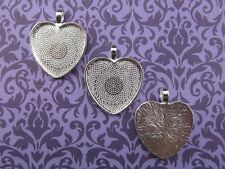 "25 Qty - 1"" Heart Pendant Trays - Shiny Silver Color - 25mm Blank Setting"