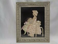 VINTAGE RIBBON ART PAPER DOLL  FRAMED SILHOUETTE #4