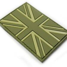 3D Rubber Union Jack Velcro Backed Morale Military Army Tactical Patch Green NEW