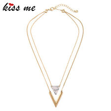 KISS ME Two layers Artificial Marble Triangle Stone Pendant Necklace xl01982