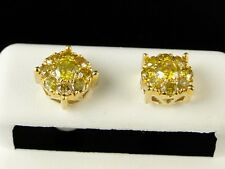 10K MENS LADIES YELLOW GOLD 8 MM CANARY DIAMOND CLUSTER STUD EARRINGS 1.09 CT