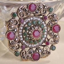 GORGEOUS VINTAGE INSPIRED ANTIQUE GOLD PLATED RED AND GREEN RHINESTONE BROOCH