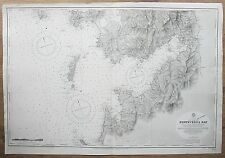 1913 SPAIN PONTEVEDRA BAY WSET COAST GENUINE VINTAGE ADMIRALTY CHART MAP