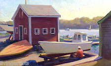 Cape Cod WOODEN BOAT WORKS Oil Painting on 18x28 Giclee Canvas