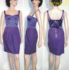 DOLCE & GABBANA purple 42 stitched Satin BUSTIER cotton skirt Dress NWT Authentc