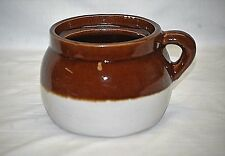 Old Vintage Primitive Stoneware Pottery Bean Crock Pot Jar Brown Cream 1 Handle