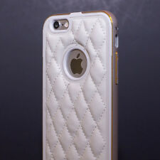 Quilted Leather Shield Metal Bumper Diamond Pattern Case for iPhone 6 6s Plus