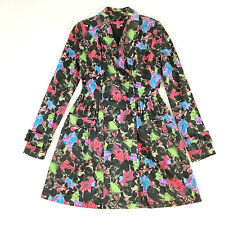 Betsey Johnson Dress style Pleated Coat FLORAL DOUBLE BREASTED Jacket size 4 S