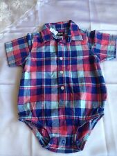 Oshkosh Baby Boy Blue Plaid Dress Shirt Bodysuit Short Sleeve SZ 24mSpring Summe