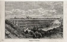 Stampa antica CHAUMONT veduta del grande viadotto Haute Marne 1897 Old Print