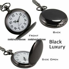 Black Smooth Pocket Watch Husband Mens Dad Father Son Xmas Gift For Him Present
