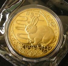 Exquisite Chinese Lunar Zodiac Year of the Rabbit 24K Gold Plated Coin 35mm