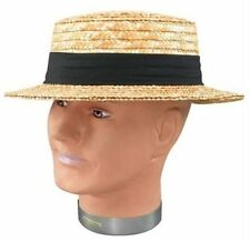 Straw Boater Hat Victorian 1940s Summer Fancy Dress Costume Accessory P724