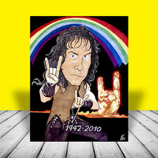 "RONNIE JAMES DIO ""Rainbow in the Dark"" POSTER ART, artist signed, black sabbath"