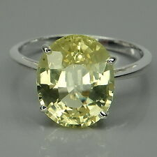 ALLURING! LEMON GREEN QUARTZ OVAL 5.8CT.STERLING 925 SILVER RING SIZE 6.75