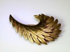 "Beautiful Vintage Gold Tone Crown Trifari Feather Pin Brooch 2.25"" – 8929"
