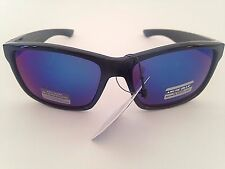 $30 New Mens Sunglasses Wayfarer Sport Black Blue Mirror Flash Lens Arctic Blue