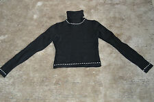 Moschino Black Lana Wool Cropped L/S Rollneck Jumper US 6 / UK 8-10