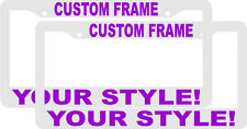 2 CUSTOM PERSONALIZED WHITE WITH PURPLE LETTERS customized License Plate Frame