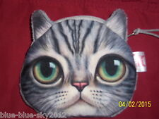 Green Eyed Tortoiseshell CAT COIN PURSE Floral Lined Novelty Bag Wallet UKseller