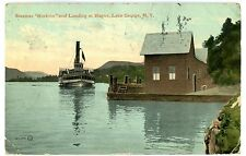 Lake George NY -STEAMER HORICON ARRIVING AT HAGUE LANDING- Postcard Adirondacks