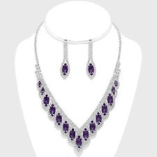 Purple diamante necklace set sparkly rhinestone bling bridesmaid prom party 0535