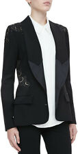 Haute Hippie Black Gold Lace applique Crepe Blazer,jacket $625 size 0