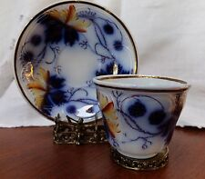 1857 Gaudy Welsh Paris White Ironstone Walley Blackberry Flow Blue Cup Saucer