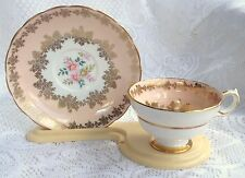 Grosvenor Bone China England Peach/ink with Gold/ Floral Tea Cup &  Saucer (149)