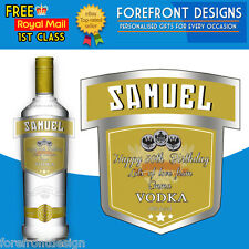 Personalised Gold Vodka bottle label, Perfect Birthday/Wedding/Graduation Gift