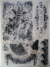 NEW Anna Griffin Clear Acrylic Flowers Butterflies 8 Stamp Set