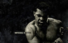 """Framed Print - Muhammad Ali """"Impossible is Nothing"""" (Picture Poster Boxing Art)"""