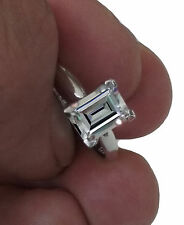 1.50 CT Emerald Cut Solitaire Engagement Wedding Ring in Real 14 K White Gold
