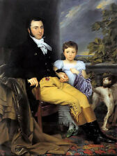 Oil joseph denis odevaere portrait of prominent gentleman & daughter hunting dog