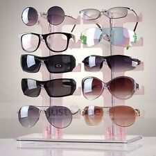 2 Row 10 Pairs Sunglasses Glasses Rack Holder Frame Display Stand OB