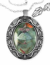 Haunted Mansion Zombie Ballerina Ghost Ornate Horror Halloween Pendant Necklace