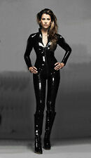 Black Sexy Catwoman False Leather Wetlook Jumpsuit Catsuit  Club Fancy Dress