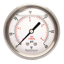 """2-1/2"""" Liquid Filled Pressure Gauges - 1/4"""" NPT Center Back Mount 60PSI"""